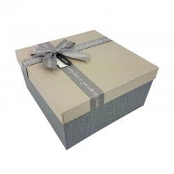 Coffret cadeaux de couleur gris ardoise et grège 20.5x20.5x10.5cm - 9647m