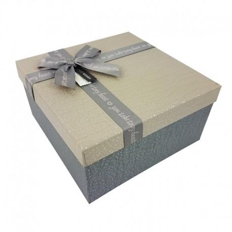 Grand coffret cadeaux de couleur gris ardoise et grège 24.5x24.5x12cm - 9648g