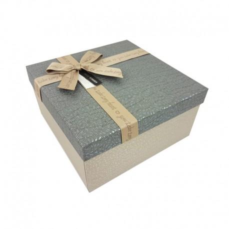 Petit coffret cadeaux grège et gris ardoise 16.5x16.5x9.5cm - 9649p