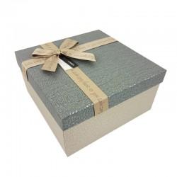 Coffret cadeaux grège et gris ardoise 20.5x20.5x10.5cm - 9650m
