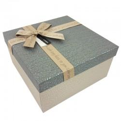 Grand coffret cadeaux bicolore de couleur grège et gris ardoise 24.5x24.5x12cm - 9651g