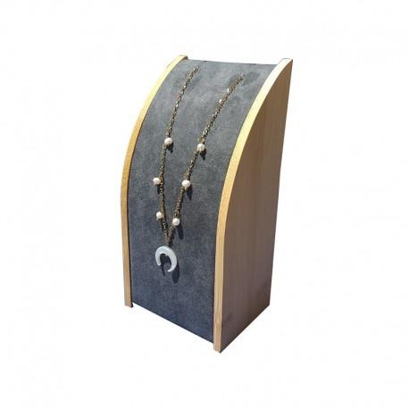 Petit porte collier rectangulaire en bois et suédine grise - 9632
