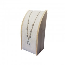 Petit porte collier rectangulaire en bois et suédine beige - 9631