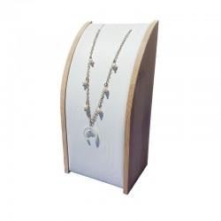 Petit porte collier rectangulaire en bois et simili cuir blanc - 9633