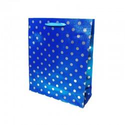 12 sacs cadeaux bleus brillants motifs pois argentés 23x8x27cm - 9652