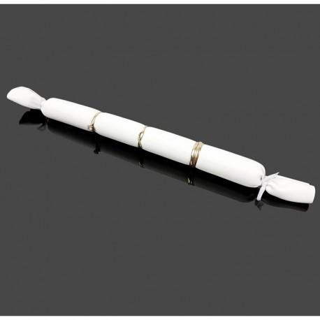 Lot de 20 petits coussins longs en simili cuir blanc pour bagues - 7487x20