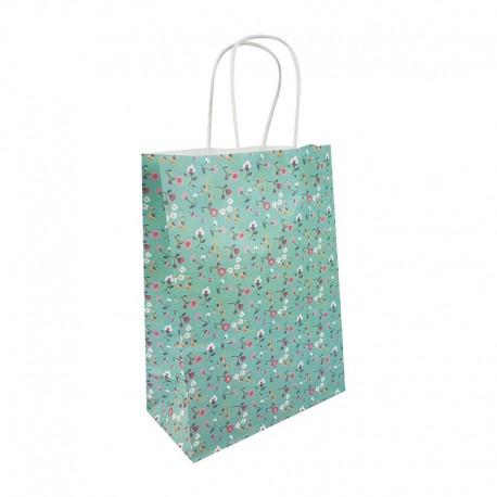 12 petits sacs en papier kraft à fleurs sur fond vert d'eau 15x8x21cm - 9654