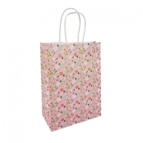 12 petits sacs en papier kraft à fleurs sur fond rose tendre 15x8x21cm - 9655