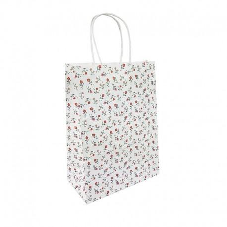 12 grands sacs en papier kraft à fleurs sur fond blanc 15x8x21cm - 9656