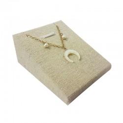 Support bijoux en coton beige pour pendentif - 9667