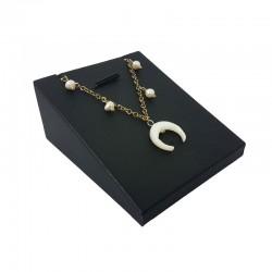 Support bijoux en simili cuir noir pour pendentif - 6705