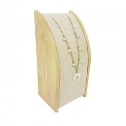 Petit porte collier rectangulaire en bois et coton beige naturel - 9664