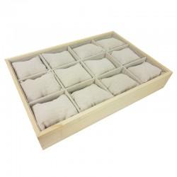 Présentoir à coussins pour montres en bois et coton beige - 9658