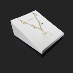 Support bijoux en simili cuir blanc pour pendentif - 6214