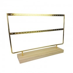 Porte bijoux en métal doré sur socle en bois 22 paires de boucles d'oreilles - 9663