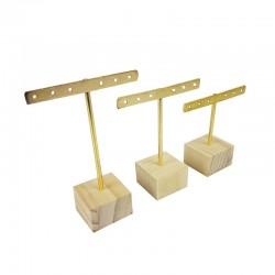 Lot de 3 petits porte bijoux en métal doré et socle en bois - 9670