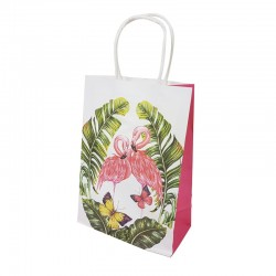 12 grands sacs en papier kraft motif tropical 25.5x12x33cm - 9680