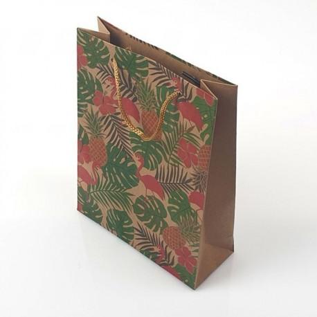 12 grandes poches en papier kraft décor flamants roses et feuilles 31.5x9.5x42cm - 9683