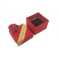 30 petits écrins pour bague motif rose rouge en relief - 10165