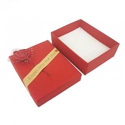 12 écrins bijoux de couleur rouge motif rose en relief 7x9cm - 10166