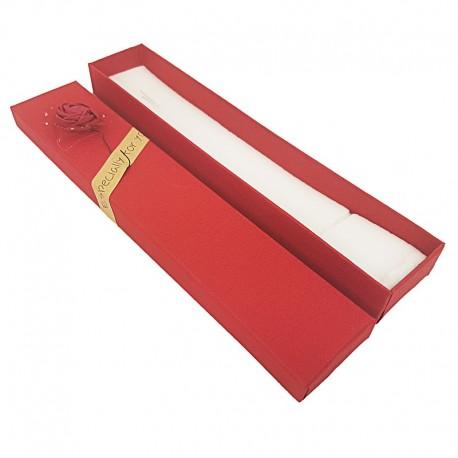 Lot de 120 écrins bracelets couleur rouge motif rose en relief 21x4x2cm - 10167x10