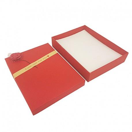 6 grands écrins de couleur rouge pour parure motif rose décorative - 10168