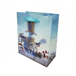 12 petits sacs cadeaux bleus motif Bonhomme de Neige - 12x6x14cm - 9685