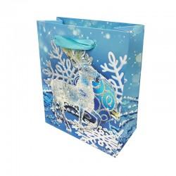 12 petits sacs cadeaux bleus motif Renne de Noël - 12x6x14cm - 9686
