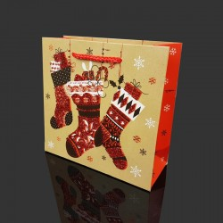 12 petits sacs cadeaux pailletés motif chaussettes de Noël 15x6x14.5cm - 9704
