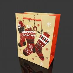 Lot de 12 sacs cadeaux pailletés motif chaussettes de Noël 26x12x32cm - 9712