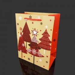 Lot de 12 sacs cadeaux pailletés motif sapins de Noël 26x12x32cm - 9713