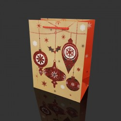 Lot de 12 sacs cadeaux pailletés motif boules de Noël 26x12x32cm - 9714