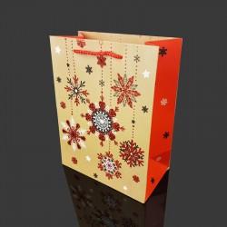 Lot de 12 sacs cadeaux pailletés motif flocons de Noël 26x12x32cm - 9715