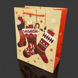 Lot de 12 poches cadeaux pailletées motif chaussettes de Noël 31x12x44cm - 9716