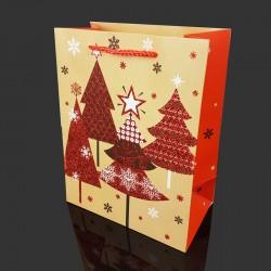 Lot de 12 poches cadeaux pailletées motif sapins de Noël 31x12x44cm - 9717