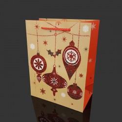 Lot de 12 poches cadeaux pailletées motif boules de Noël 31x12x44cm - 9718