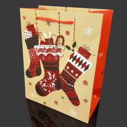 6 grandes poches cadeaux pailletées motif chaussettes de Noël 40x15x55cm - 9720