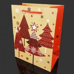 6 grandes poches cadeaux pailletées motif sapins de Noël 40x15x55cm - 9721