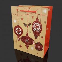 6 grandes poches cadeaux pailletées motif boules de Noël 40x15x55cm - 9722