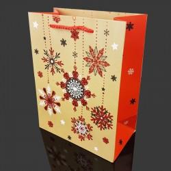 6 grandes poches cadeaux pailletées motif flocons de Noël 40x15x55cm - 9723