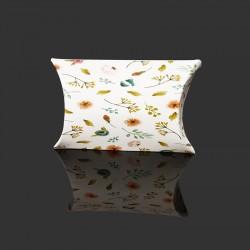 Lot de 10 minis berlingots motifs fleurs sur fond blanc 5.5x8x2cm - 9724