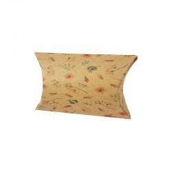 Lot de 10 minis berlingots motifs fleurs sur fond brun 5.5x8x2cm - 9725