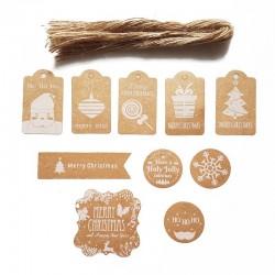 Lot de 50 étiquettes cadeaux motifs de Noël blancs - 9728