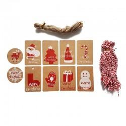 Lot de 100 étiquettes cadeaux motifs de Noël rouges - 9729