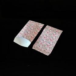 100 petits sachets cadeaux papier rose 6x10cm motif de fleurs - 8133