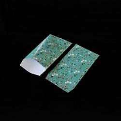 100 petits sachets cadeaux papier vert d'eau 6x10cm motif de fleurs - 8135