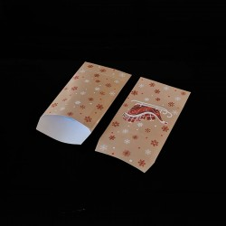 100 pochettes cadeaux 7x13cm motif traineau de Noël - 8140
