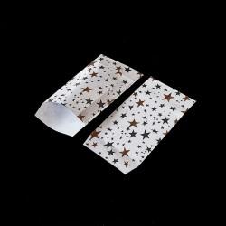 100 pochettes cadeaux blanches 7x13cm motif étoiles - 8144