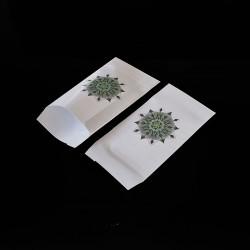 100 pochettes cadeaux blanches 7x13cm motif mandala - 8145