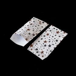 Lot de 100 sachets cadeaux blancs motif étoiles 11x17cm - 8152